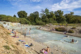 Cascate del Mulino waterfall, Saturnia thermae,Tuscany, Italy, Europe