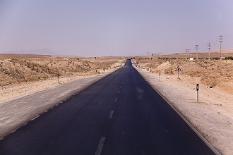 The road in the desert towards Isfahan; cantral Iran, Iran, Middle East