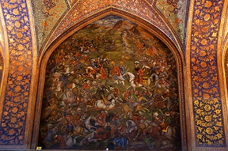 Artwork of the Battle of Chaldiran, Frescoes on the walls inside Chehel Sotoun Palace, Isfahan, Iran, Middle East