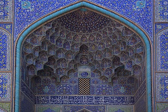 Sheikh Lotf Allah Mosque, Iwan decorated with tiles, Imam Square, Isfahan; Iran, Middle East