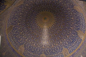 The Shah Mosque at Imam Square,ceiling drcorated with tiles, Isfahan; Iran, Middle East