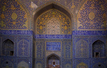 The Shah Mosque at Imam Square, walls decorated with tiles, Isfahan; Iran, Middle East