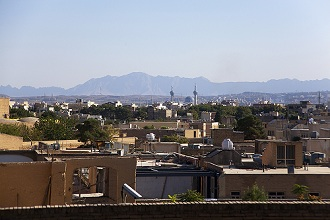 A view of Isfahan from Ali Qapu Palace, Isfahan; Iran, Middle East