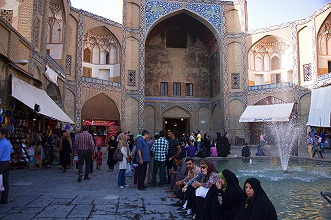 A corner of the Imam Square at Isfahan; Iran, Middle East