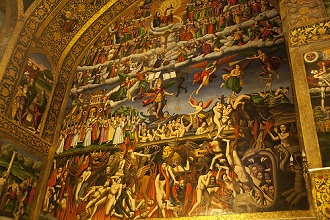 Depiction of Heaven, Earth, and Hell inside the Holy Savior Cathedral, Armenian Vank Cathedral, also known the Church of the Saintly Sisters, Armenian Apostolic Church, New Julfa district, Isfahan; Iran, Middle East