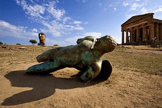 Valle dei Templi valley, Mitoraj sculpture, Agrigento, Sicily, Italy, Europe