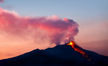 Etna volcano in eruption, view from Malabotta, Sicily, Italy, Europe