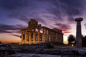 Sunset at Archeological site of Paestum, Campania, Italy, Europe