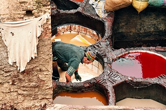 Leather tanning, Fez, UNESCO World Heritage Site, Morocco, North Africa