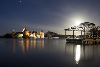 Nightview of Trakai Island Castle, Galve Lake, Trakai, Lithuania, Europe