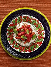 Mascarpone cream with strawberries and mint, italy, Europe