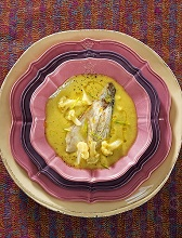Baked seabass with cream of cauliflower and pumpkin, Italy, Europe