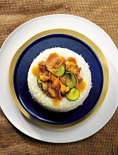 Basmati rice ring with chicken curry and vegetables, Asia