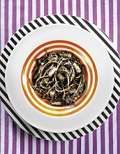 Squid ink spaghetti, Italy, Europe