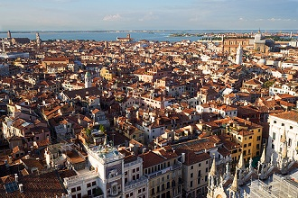 Cityscape and lagoon view from San Marco bell tower, Venice, Veneto, Italy, Europe