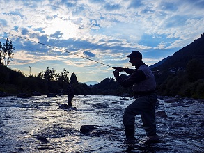 flyfishing in Avisio river,  Fiemme valley, Trentino, Italy, Europe