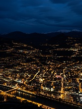 Nightview of Trento town and Duomo square from Sardagna viewpoin of Sardagna, Trentino, Italy, Europe