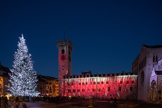 Christmas lights at Palazzo Pretorio, Duomo square, Trento, Trentino, Italy, Europe