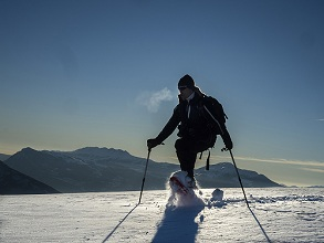 trekking with snowshoes at Finonchio montain, Folgaria and Lavarone plateau, Trentino, Italy, Europe