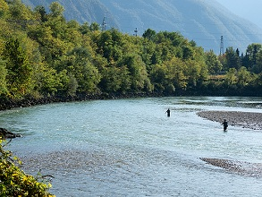flyfishing in Adige river, Vallagarina, Trentino, Italy, Europe