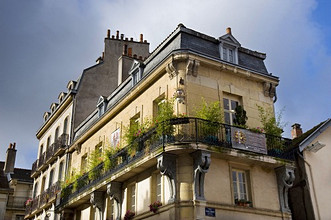 Bloomed balcony, Dijon, Burgundy, France, Europe