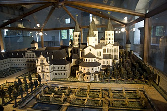 Model of the Benedectine Abbey, Cluny, Bourgogne, Burgundy, France, Europe