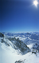 Torino refuge, View from Punta Helbronner, 3.462 meters, Courmayeur, Monte Bianco, Valle d'Aosta, Italy, Europe