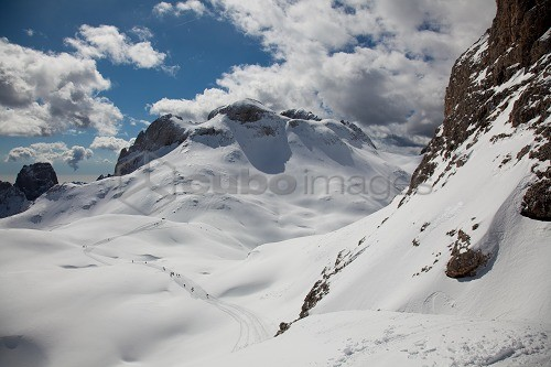 Ski mountaineering in the Dolomites, heading to Cima Fradusta, Pale di San Martino, Trentino Alto Adige, Italy, Europe