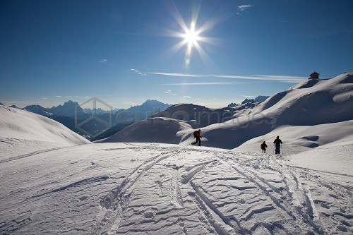 Touring ski in the Dolomites, Piz Boè, eastern Alps, Bolzano, South Tyrol, Italy, Europe