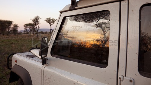 Tanzania, Serengeti. Sunrise over the bush is reflected in the window of a Land Rover.