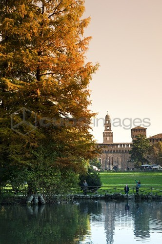 Sempione park with Sforzesco castle in the background, Milan, Italy