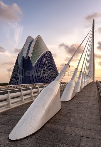 Europe, Spain, Valencia, City of Arts and Sciences, L'Assut de l'Or Bridge and Agora