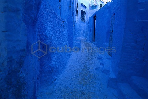 Blue facades in an alley at the old town, Chefchaouen, Morocco, Africa