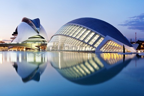 Hemisferic, Imax Cinema, Planetarium and Laserium built in the shape of the eye and Palau de les Arts, City of Arts and Sciences, Cuidad de las Artes y las Ciencias, Santiago Calatrava (architect), Valencia, Spain