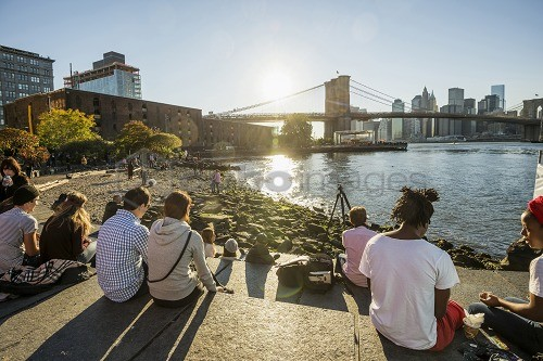 Fulton Ferry State Park, Dumbo, Brooklyn, New York, USA