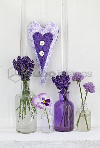 Lavender, blossoms, pansies, chive blossoms, heart