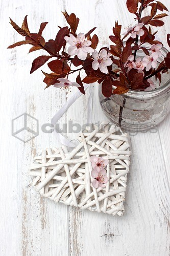 Decoration, heart, cherry flowers