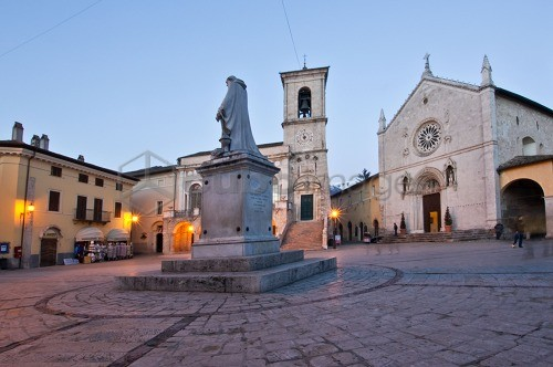 Village, St. Benedict Square, Norcia, Umbria, Italy, Europe