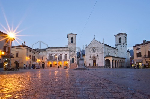 St. Benedict Square at dusk, Norcia, Umbria, Italy, Europe