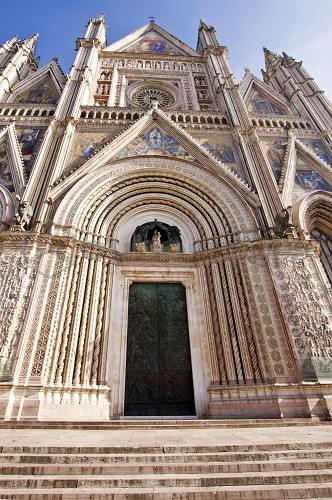 Cathedral entrance and staircase, Orvieto, Umbria, Italy, Europe