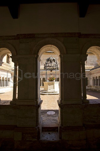 Santa Croce Abbey; Cloister, Sassovivo village; horizontal; Foligno; Umbria; Italy; Europe