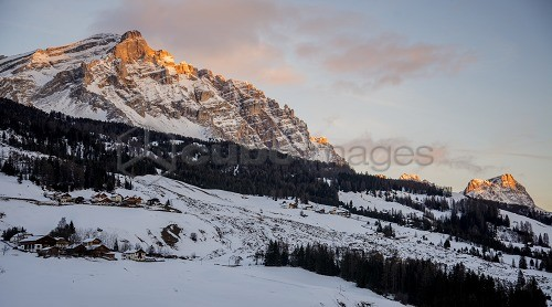 Sunset on Val badia valley, Fanes, Dolomites, UNESCO, World Heritage Site, Trentino Alto Adige, Italy, Europe