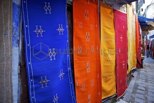 Rugs hung on the wall in Chefchaouen, Morocco, North Africa, Africa