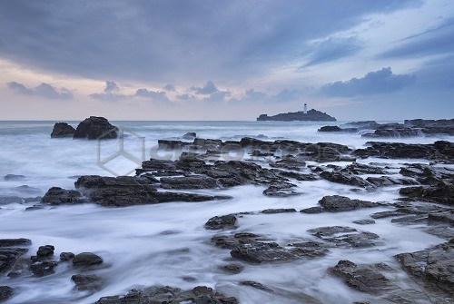 High tide at Godrevy, looking towards Godrevy Lighthouse, St. Ives Bay, Cornwall, England, United Kingdom, Europe
