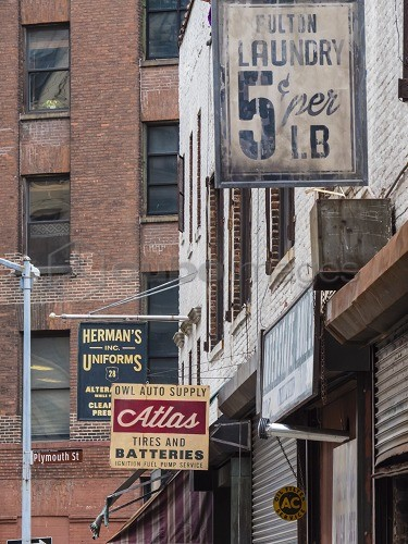 Old business signs in DUMBO (Down Under Brooklyn Bridge Overpass), Brooklyn, New York, United States of America, North America
