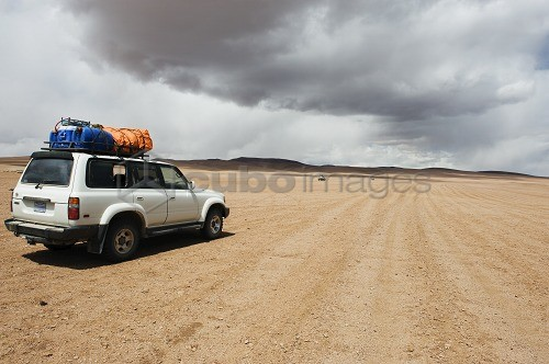 Four wheel drive desert tour in the altiplano desert, Bolivia, South America