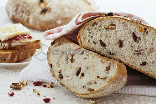 Nut bread with cranberries