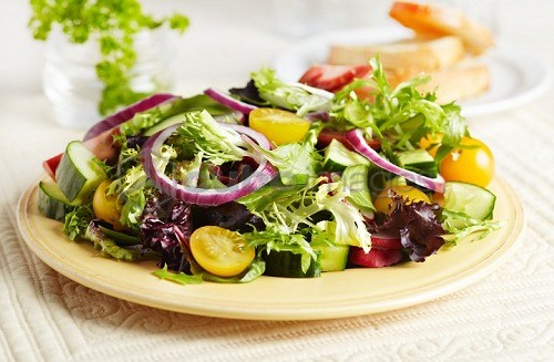 Mixed Green Salad on a Plate