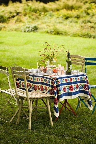 Laid table in garden (summer)