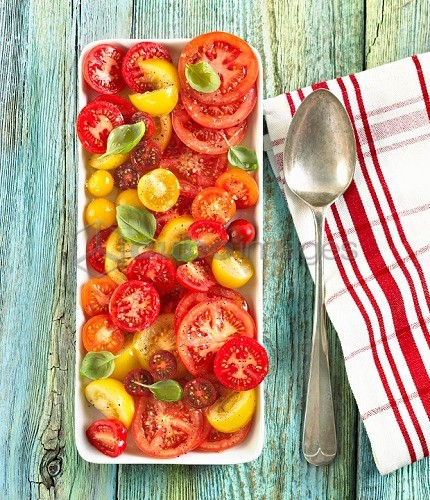 Sliced Heirloom Tomato Salad on a Serving Dish, From Above